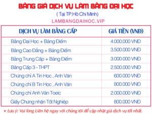bang gia lam bang dai hoc tai tphcm